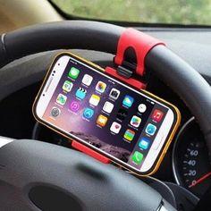 Handy-Silikon-Halterung-Lenkrad-Halterung-Halter-Auto-PKW-LKW-KFZ-iPhone-Pink