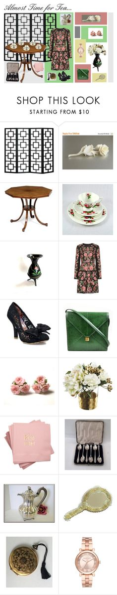 """""""Almost Time for Tea..."""" by anna-ragland ❤ liked on Polyvore featuring Needle & Thread, Irregular Choice, Hermès, Lladró, Paper Whites, Michael Kors and vintage"""