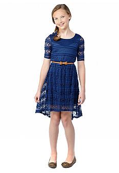 Sequin Hearts Lace High-Low Belted Dress Girls 7-16  ooooooh matches the bridesmaid.... now can I find in bev size....