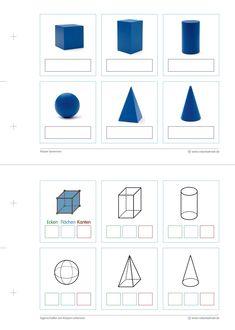 Geometrie Arbeitsblatt A5 lang - Körper (1) Montessori Toddler, Montessori Activities, Bar Chart, Calendar, Holiday Decor, School, Boxing, Montessori Sensorial, Learn Math