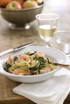 My idea of a lovely lunch - prawn dish + a glass of chilled white!    jenny steffens
