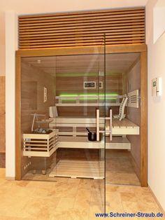 Einbausauna in Eiche - Außenansicht Sauna, Divider, Loft, Bed, Furniture, Home Decor, Oak Tree, Decoration Home, Stream Bed