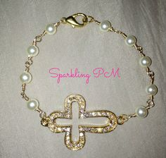 Gorgeous sideways bracelet attached to a handmade chain with pearls
