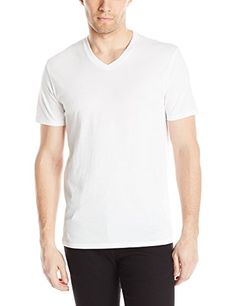 Vince Men's Favorite Pima Cotton Short Sleeve V-Neck Tee, Optic White, Small. Short-sleeve T-shirt in solid tone featuring V-neckline.