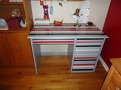 striped desk for boys' rooms -- could we do this w/different colors of painters tape? w/o actually painting?