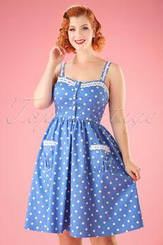 Lindy Bop ~ 50s Corinna Polkadot Swing Dress in Sky Blue