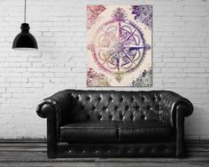 ON SALE 20% OFF Voyager Ii - Stretched Canvas print, compass rose print, wanderlust canvas print, bohemian art, canvas art, large wall art,