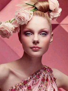 ✿ Pink lady with pink flowers ✿