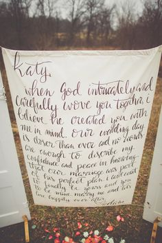 groom's love letter to the bride as a photo backdrop, photo by Cassie Loree Photography http://ruffledblog.com/love-letter-engagement-session #weddingideas #engagements