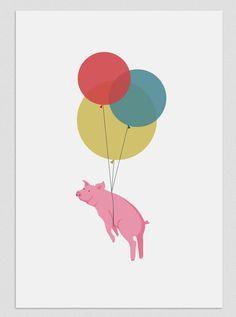Illustration. Flying pig. $18.00, via Etsy.