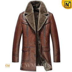 Men's Shearling Leather Coat CW858106 Warm longer shearling leather coat for men crafted from natural lambskin leather shell and thick supple fur shearling lining, brown shearling coat featuring with exposed shearling collar,and flap pockets keeps you feeling warm while looking graceful. . www.cwmalls.com PayPal Available (Price: $1418.89) Email:sales@cwmalls.com