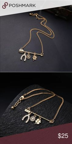 🆕🍀Gold Good Luck Charm Necklace🍀 🆕🍀Good Luck Charm Necklace🍀 Gold plated brass necklace. Adorable & why not add some lucky charms to your life? Make an offer or bundle for best pricing! Buy 3+ items? Ask me for a custom bundle! Jewelry Necklaces