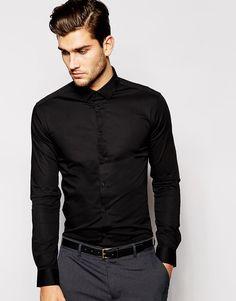ASOS | ASOS Skinny Fit Shirt In Black With Long Sleeves at ASOS