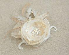 Rustic hair piece Bridal hair flower Wedding hair by LeFlowers