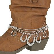 Silver Horse Charms Western Cowgirl Cowboy Boot Jewelry Anklet Charm Strap