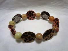 Amber Soapstone and Multiplated Hammered Lentil Beaded Stretch Bracelet by NfntyArt on Etsy