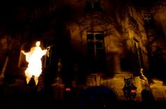 The exterior of the Carolands Mansion was lit with multi layered gobos, a grave yard, scary branches and a flying ghost greet guests as they approached the valet.  Enhanced Lighting & AV