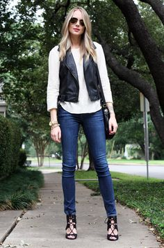 Fall Outfit black leather vest white lace top denim