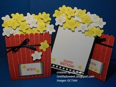 Popcorn card - holds a movie gift certificate. Directions provided for flower pot card too! Made this for my mom with a flower punch. Turned out super cute. Scrapbook Paper Crafts, Scrapbook Cards, Scrapbooking Ideas, Gift Cards Money, Movie Gift, Cricut Cards, Beautiful Handmade Cards, Creative Cards, Kids Cards