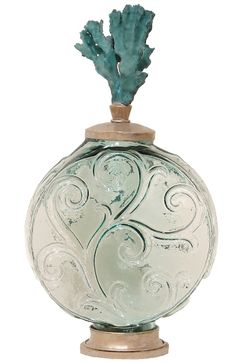 It's hard to make a choice with all the beautiful perfume bottle options out there but of course this coastal themed one one caught my eye! Have a great day Jeri! Seaside Home Decor, Beach Cottage Decor, Coastal Decor, Modern Coastal, Beautiful Perfume, Vintage Perfume Bottles, Tropical Decor, Coral Top, Glass Bottles