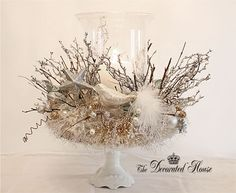 The Decorated House: ~ White & Silver Christmas Mystic Centerpiece - Inspired by Mythic Nest Anthropologie Silver Christmas, Noel Christmas, All Things Christmas, Vintage Christmas, Christmas Crafts, Christmas Mantles, Victorian Christmas, Vintage Santas, Vintage Ornaments
