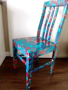 Gorgeous fabric decoupage chair - I made it :o)