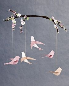 This beautiful bird mobile is a wonderful gift for new moms and a perfect way to add a little charm to any nursery.