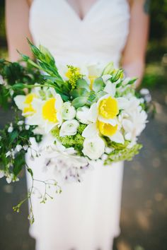 green, white, and yellow bouquet // photo by Milou + Olin // flowers by Soulflower Floral Design // view more: http://ruffledblog.com/oakland-beach-house-wedding/