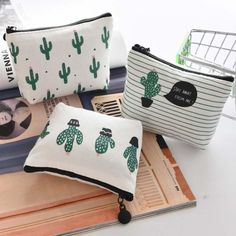 eTya Coin Wallet Women Coin Purse Cute Cactus Kids Change Pouch Female Headset Line Key Holder Bag Children Gift Money Pouch Coin Wallet, Coin Bag, Clutch Wallet, Canvas Wallet, Canvas Purse, Key Bag, Cute Purses, Girls Bags, Bag Organization