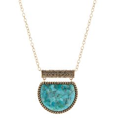Love this Turquoise & Bronze Pendant Necklace by Barse on #zulily! #zulilyfinds