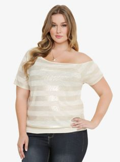 Metallic Striped Off-The-Shoulder Top
