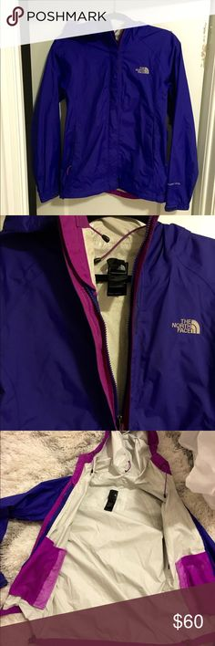 North Face Raincoat This waterproof, breathable technology utilizes a polyurethane (PU) coating that consists of a tri-component, multi-layer formula for waterproof protection, moisture permeability and durability.  Size small Very good condition  Purple blue in color North Face Jackets & Coats