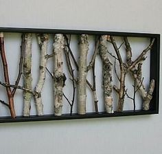 urban rustic home decor | Birch Wall Hanging - Black and White, Open Art, Rustic Art, Shabby ...