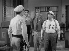 Goodbye, Sheriff Taylor (5/10) Trivia - After Barney throws the tomato at Otis, the size and location of the stains on Otis' shirt change between shots. This is the first episode in which Goober is seen wearing his trademark beanie.