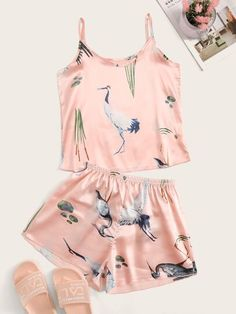 To find out about the Crane Print Satin Cami PJ Set at SHEIN, part of our latest Night Sets ready to shop online today! Cute Pajama Sets, Cute Pjs, Cute Pajamas, Pj Sets, Pajamas Women, Silk Pj Set, Satin Pyjama Set, Satin Pajamas, Pyjamas