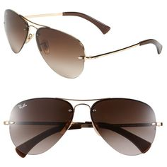d255094687cb0 Women s Ray-Ban 59mm Semi Rimless Aviator Sunglasses ( 160) found on  Polyvore featuring