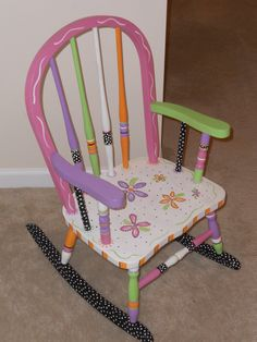 Childs Hand Painted Rocking Chair ♥ by impressionsbysusan on Etsy
