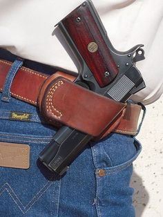 If I judged my favorite holster as the one that I've worn the most, it would have to be the Yaqui Slide. This little rig is the epitome of simplicity and meets all of the requirements that I have for … Continue reading → 1911 Leather Holster, 1911 Holster, Custom Leather Holsters, Pistol Holster, Leather Knife Sheath Pattern, Leather Pattern, Colt 1911, 1911 Pistol, Leather Workshop