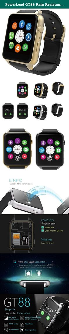 PowerLead GT88 Rain Resistant Heart Rate Monitor Bluetooth Smartwatch Perfectly Compatible with IOS&Android System Smartphone-gold color. Function Parameter: Phone Function:GSM 850/900/1800/1900, Dial Hand-free Answering, Call Log,Phone book,Bluetooth call SMS:Local SMS, Synchronous pushing between the phone SMS and Bluetooth Entertainment:MP3, MP4, AVI music play Call reminding:The bell and vibration to remind Clock display:3 kinds of clock display Bidirectional anti-lost:Anti-lost…