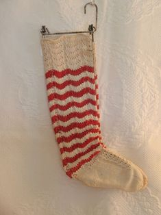 Victorian Cotton Socks With Stretchers. omg, would these not be precious on the tree or on a wreath? Vintage Knitting, Vintage Crochet, Vintage Laundry, Damier, Textiles, Antique Clothing, Cotton Socks, Shades Of Red, Sock Shoes