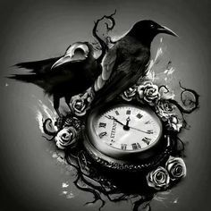 raven tattoos with roses and clock - Google Search