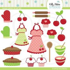 Baking Cherry Pie Clipart Set - Digital Elements Commercial use for Cards, Stationery and Paper Crafts and Products on Etsy, $5.00
