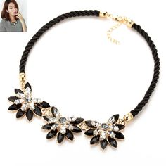 Flower Choker Necklace. Item Type: NecklacesFine or Fashion: FashionChain Type: Link ChainShape\pattern: PlantBrand Name: TOMTOSHNecklace Type: Pendant NecklacesMaterial: RhinestoneStyle: TrendyPendant Size: 2.5*3.5cmMetals Type: Zinc AlloyGender: WomenModel Number: SKU N006Compatibility: OtherFunction: OtherLength: 20-45CM