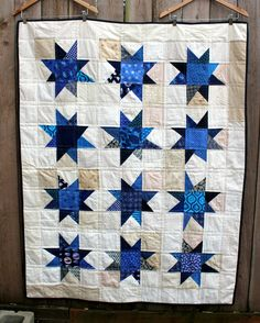 blue wonky star quilt finsihed