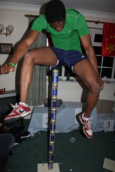 """Recently, a friend held """"The Beer Olympics"""". This was the winning jump in the … Recently, a friend held """"The Beer Olympics Party, Summer Olympics, Olympic Idea, Olympic Games, Beer Games, Party On Garth, Holiday Party Themes, Grown Up Parties, High Jump"""