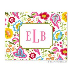 Bright Floral Folded Note by Boatman Geller #floral #monograms #stationery