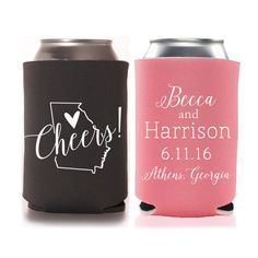 Personalized Fall In Love Rustic Wedding Favors Can Coolers Custom Beverage Insulators Beer Huggers Favor