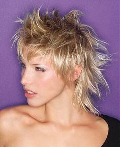 A medium blonde straight coloured spikey Womens haircut hairstyle by seanhanna