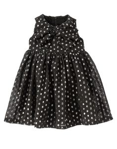 Silver Dots Dress at Gymboree. red cardigan, black tights, and silver shoes Little Girl Outfits, Toddler Outfits, Kids Outfits, Taffeta Dress, Red Cardigan, Kid Styles, Black Tights, Baby Girl Fashion, My Princess