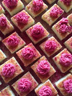 Lemon bars with raspberry frosting